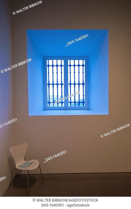 Spain, Madrid, Atocha Area, Centro de Arte Reina Sofia museum, gallery window