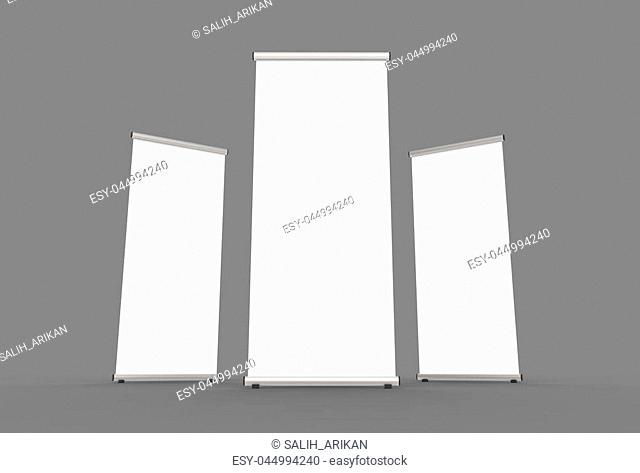 Blank roll up banner 3 display view template. 3d illustrating