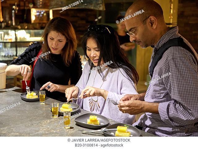 Dessert: Sky bacon pie, Bar restaurant Xarma, Gastronomic tour, guide with tourists, Donostia, San Sebastian, Gipuzkoa, Basque Country, Spain, Europe