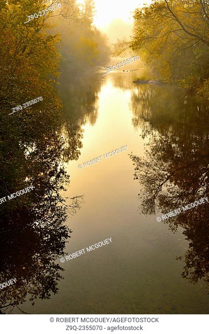 A vertical landscape image of the mist on Trout Creek with the fall colors in early morning light in Sussex New Brunswick Canada
