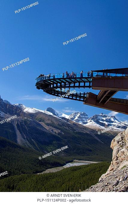 Glacier Skywalk, glass-floored observation platform looking over the Sunwapta Valley, Jasper National Park, Alberta, Canadian Rockies, Canada