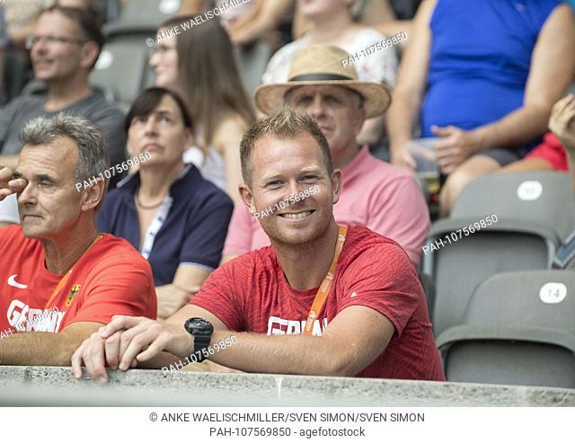 coach Sebastian HALLMANN (coach of Arthur ABELE) with DLV-Bundescoach decathlon Rainer POTTEL l. on the tribune. Decathlon javelin, on 08.08