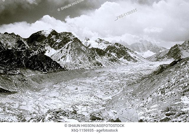 Himalayas - Khumbu Glacier in the Himalayan mountains in Nepal in Asia