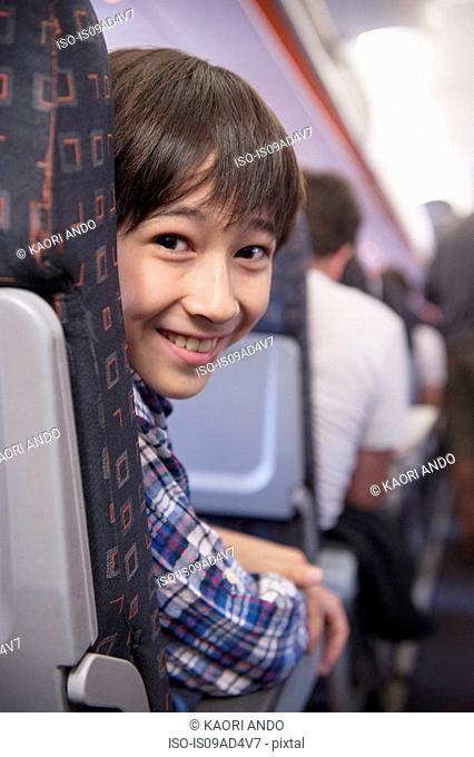 Boy on aeroplane