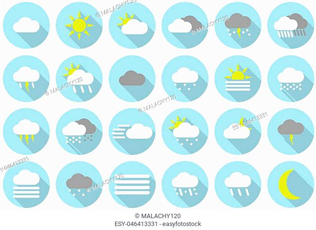 Icon set of different colored weather symbols in blue