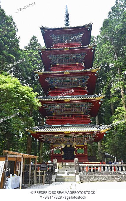 Five-story pagoda, Toshogu Pagoda, Nikko, Japan, Asia
