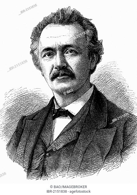 Heinrich Schliemann, 1822-1890, a German businessman and pioneer in the field of archeology, found the ruins of Troy, historical engraving, circa 1869