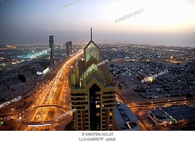 Dubai's Main Drag at Dusk  Dubai, United Arab Emirates