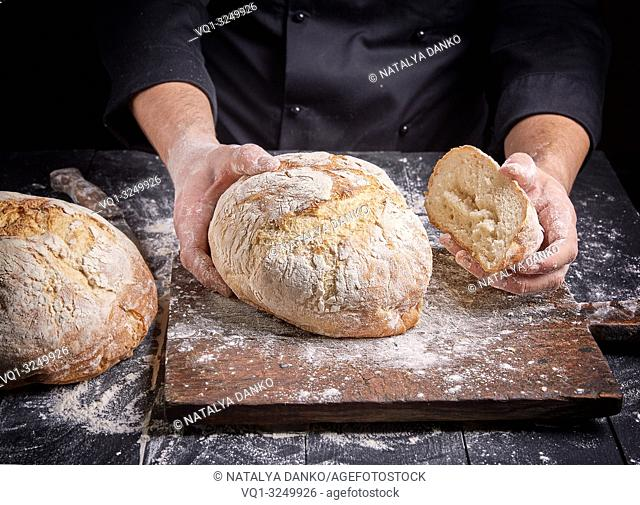 cook in a black tunic holds fresh baked round bread, close up