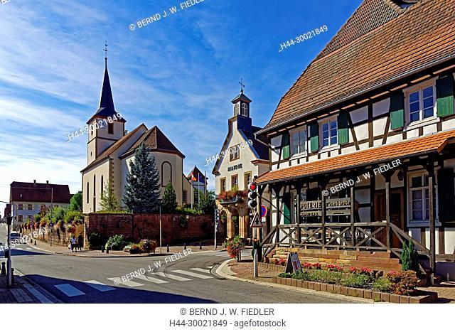 Kirche, protestantisch, Eglise protestante Unie Beschdorf, Rathaus, Mairie, Poterie, Töpferei