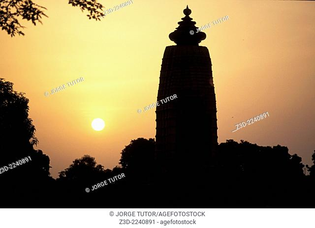 Khajuraho Temple silhouette at sunset, Madhya Pradesh, India