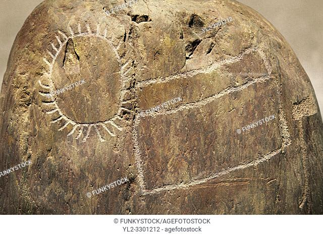 Prehistoric petroglyphs, rock carvings, carved by the the prehistoric Camuni people in the Copper Age around the 3rd milleneum BC