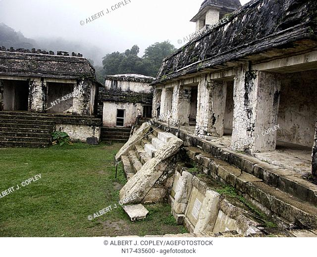 The Palace in Palenque, Maya archeological site (600 - 800 A.D.). Chiapas, Mexico