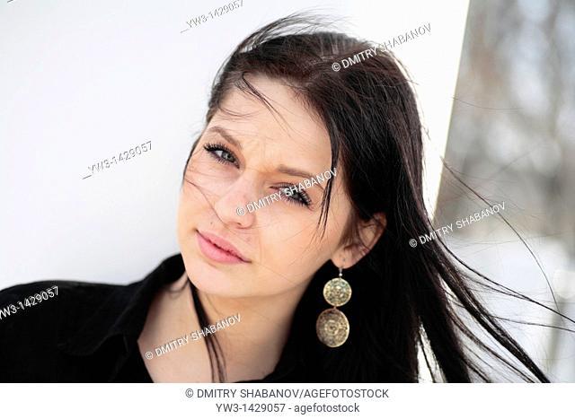 beautiful brunette outdoor portrait
