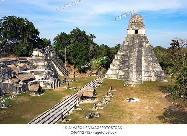 Great Plaza and Temple of the Giant Jaguar. Temple I.  Mayan ruins of Tikal. Guatemala