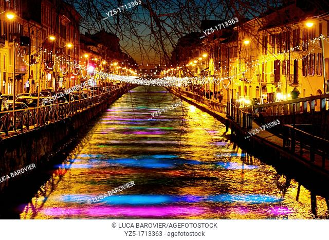 Lighted river during Christmas - Naviglio Grande, Milano Italy
