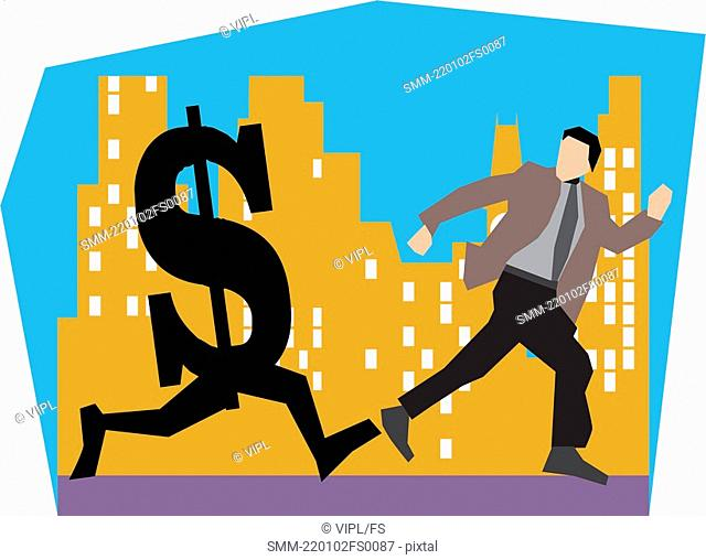 Businessman running with dollar by buildings