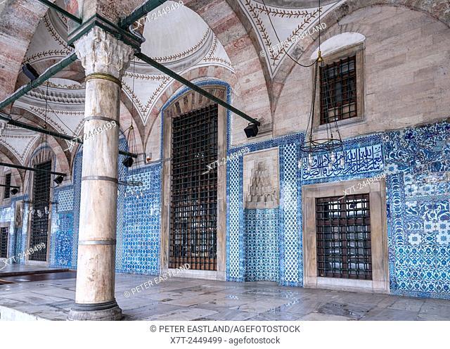 Portico of the 16th cen. Rustem Pasha Mosque, Tiled with Iznik tiles Tahtakale, Istanbul, Turkey
