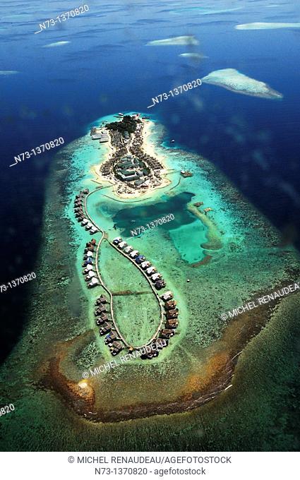 Indian Ocean, Maldives, resort aerial view