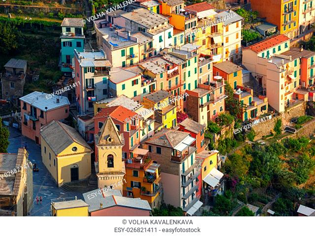 Aerial panoramic view of Manarola fishing village in Five lands, Cinque Terre National Park, Liguria, Italy