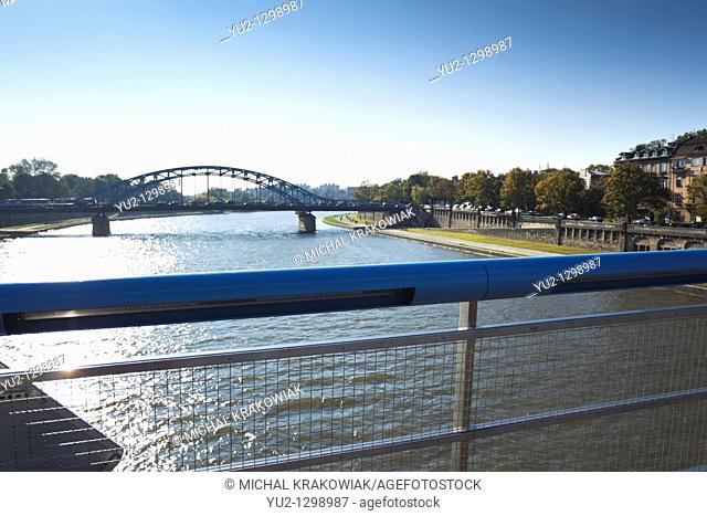 View from Bernatka footbridge towards Pilsudski Bridge in Krakow, Poland