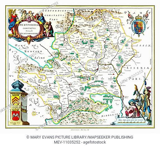 Map of Hertfordshire by Johan Blaeu