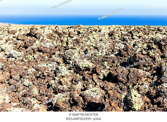 Spain, Canary Islands, Lanzarote, Malpais de la Corona, Rope Lava, Lava field from Volcano Corona