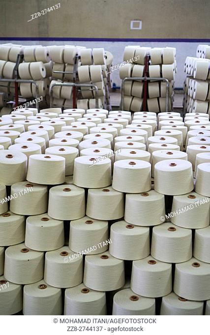 Cotton spools inside cotton mill Multan Pakistan