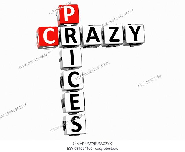 3D Crazy Prices Crossword on white background