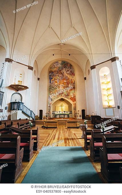 Interior Of Sofia Kyrka (Sofia Church) In Stockholm, Sweden. Sofia Church named after the Swedish queen Sophia of Nassau