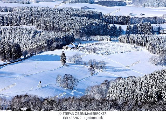 Aerial view of a winter landscape near Sundern, Sauerland, North Rhine-Westphalia, Germany