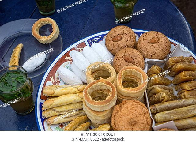 TRADITIONAL PASTRIES AND MINT TEA, RABAT, MOROCCO, AFRICA