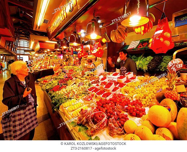 Shopping in Mercat de Santa Caterina - Fresh Food Market in Barcelona, Catalonia, Spain
