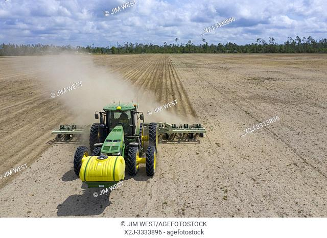 Chipola Park, Florida - A farmer prepares a field in the Florida panhandle for planting peanuts