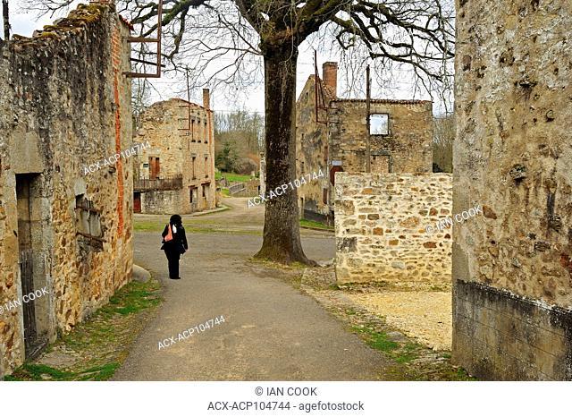 empty streets, Oradour-sur-Glane, Haute-Vienne Department, Limousin, France