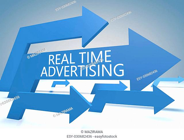 Real Time Advertising 3d render concept with blue arrows on a bluegrey background