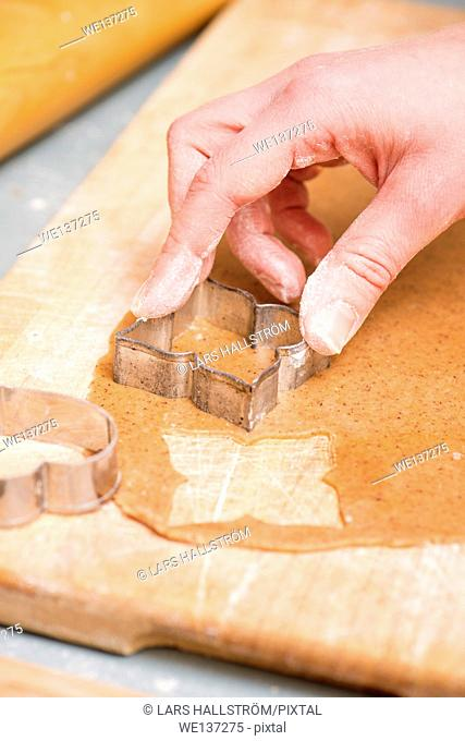 Hand of woman baking ginger bread cookies as christmas preparation
