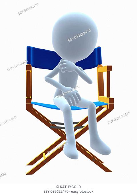 3D guy in a directors chair on a white background