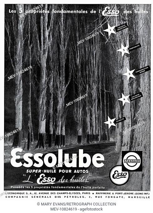 Art Deco Magazine Advertisement for Essolube motor oil