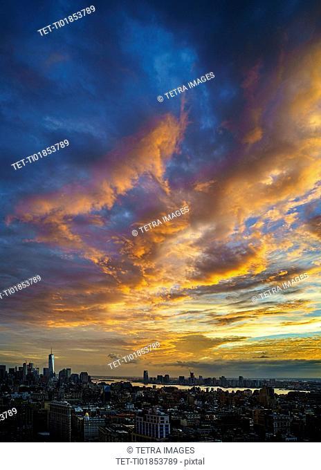 Scenic cloudscape at sunset