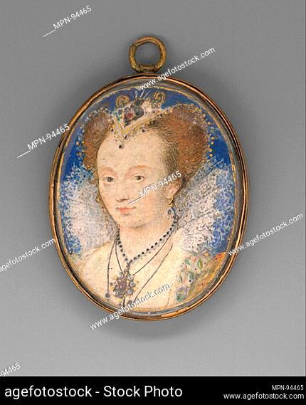 Portrait of a Woman. Artist: Nicholas Hilliard (British, Exeter ca. 1547-1619 London); Date: ca. 1590; Medium: Vellum laid on card; Dimensions: Oval, 1 x 7/8 in