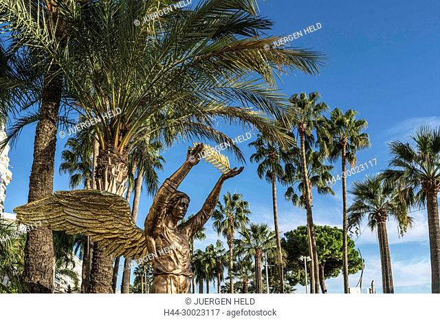 Golden sculpture in front of Carlton Hotel, Palm tree, Cannes, Cote d'Azur, France