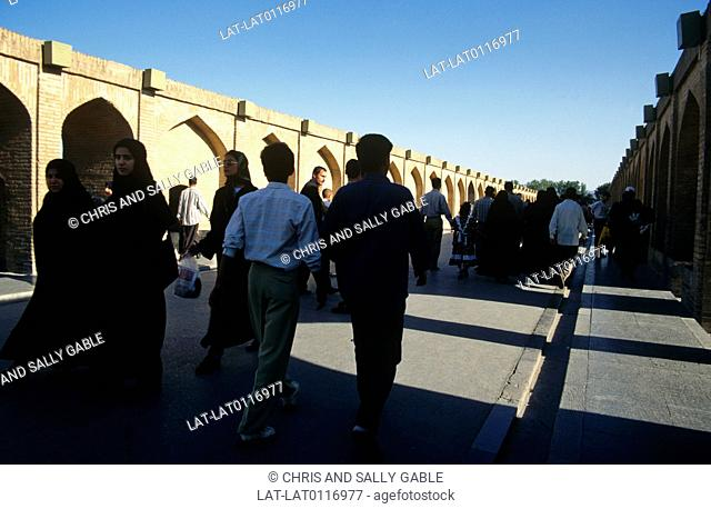 Zayandeh Rood river. Esfahan. The Si-o-se Pol,the Bridge of 33 Arches,also called the Allah-Verdi Khan Bridge,is a fine example of Safavid bridge design
