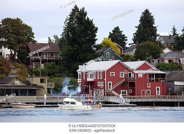 La Conner village and Swinomish Channel, State of Washington, USA, America
