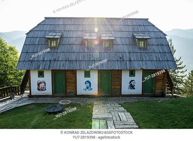 Yuri Gagarin, Deiga Maradona and Fidel Castro portraits on Guest house in Drvengrad (Kustendorf) built by Emir Kusturica, Serbia