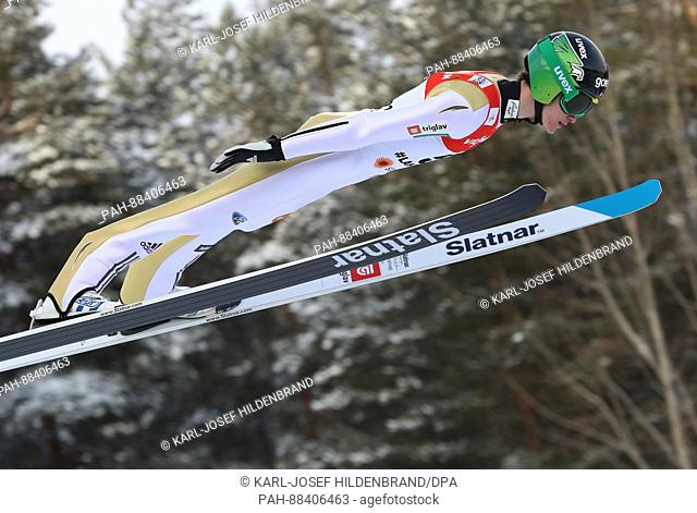 Slovenian athlete Peter Prevc in mid-air during a jump from the normal slope at the FIS Nordic World Ski Championships 2017 in Lahti, Finland, 24 February 2017