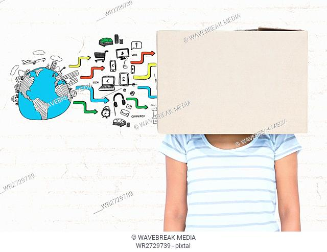 Woman covered her face with cardboard box and various application