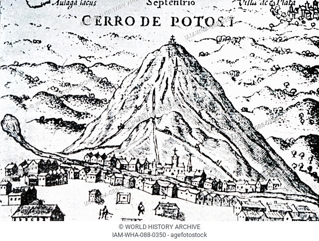 Illustration of Cerro Rico, a mountain in the Andes near the Bolivian city of Potosí. Dated 16th Century