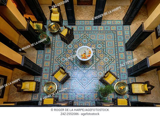 Courtyard at La Sultana Hotel. Marrakesh or Marrakech. Morocco