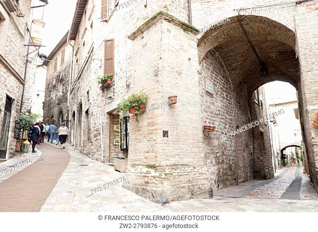 Alleys of the village after the storm. Assisi, Umbria. Italy
